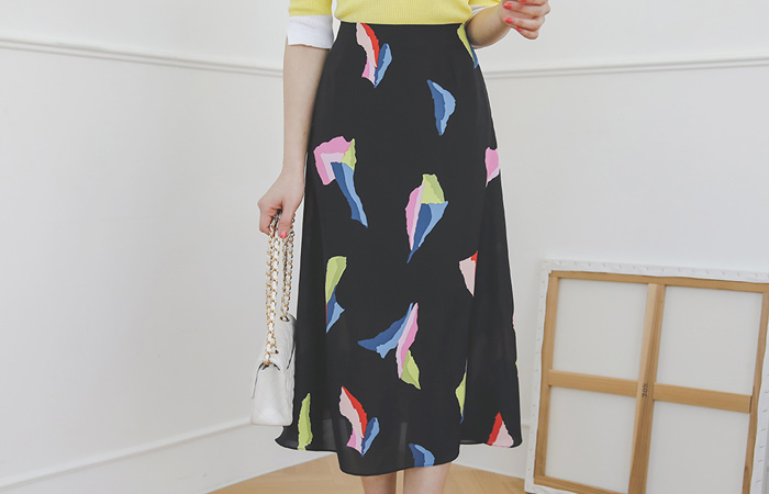 Serbia Color-Piece A-line Long Skirt