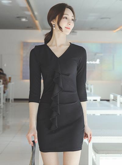 Flounce Frill V-neck Span Mini Dress