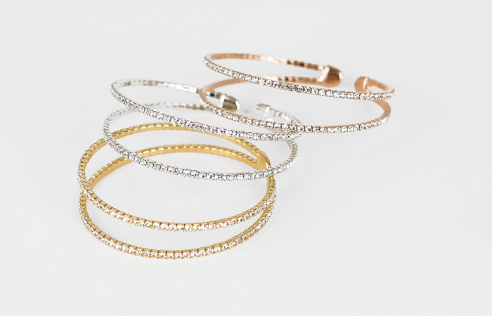 Cubic double line bangle