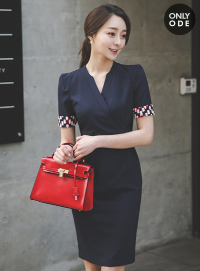 Modern color combination supple lease Dress (short-sleeved)
