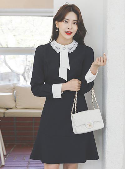 Pearl-Tie Lace Callor Ruffle Dress