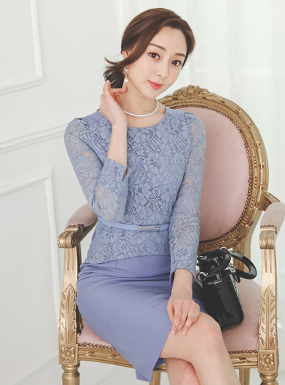 Double Guipure Lace Belted Span Dress