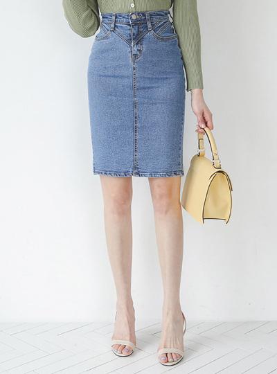 Slim Stitch H-line Denim Skirt