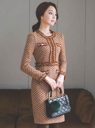 Cuckold Tweed Pearl Pocket Dress