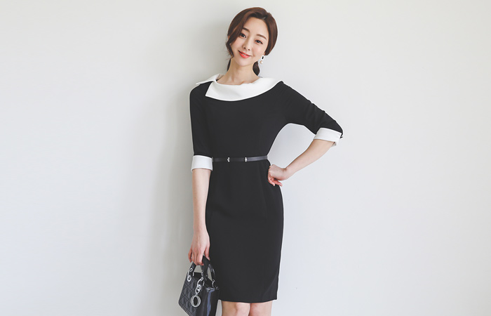 Unbalance Flat Collar Colored-Sleeves Belted Dress