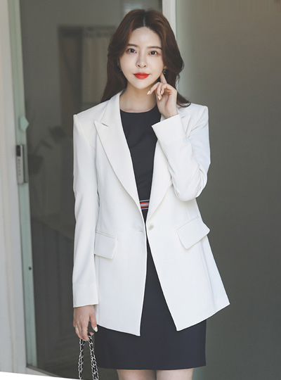 Shell Button Cutting-line Back Slit Jacket