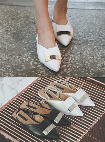 Modern Gold Bar V-Line Flat Sling Backs