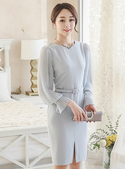 Elegance Pleats Sleeve Dress