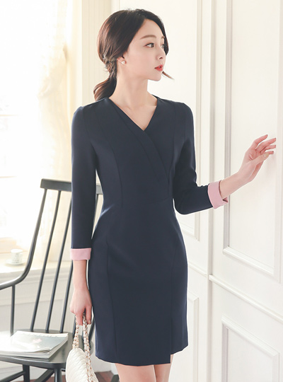 Sensible Uniform Formal Wrap Dress