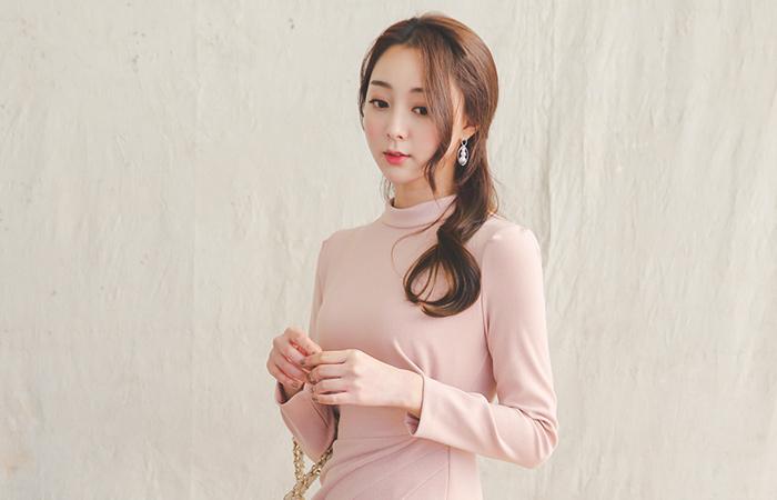 Josephine pinch drape slit dress