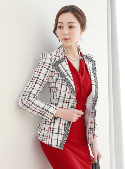 Wing Collar Fringe Tweed Check Jacket