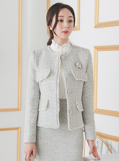 Shining Gold Pearl Round Tweed Jacket