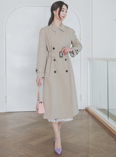 Basic Collar Cotton Double Trench Coat