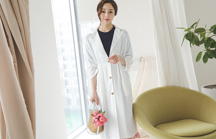 Natural Back-String Single Long Trench Coat