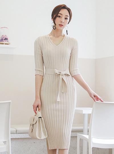 Glam Corduroy Belted Side Slit Dress