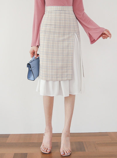 Chiffon layered Center Front Vent Glen Plaid Skirt