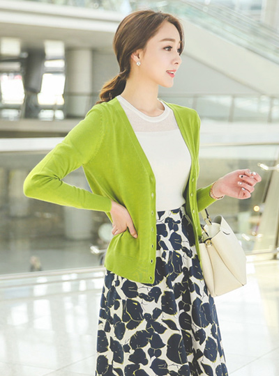 Spring Basic V-neck Cardigan
