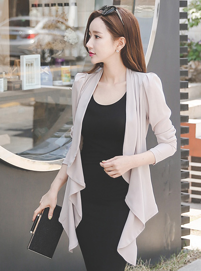 Ruched Shoulder Shawl chiffon puff jacket