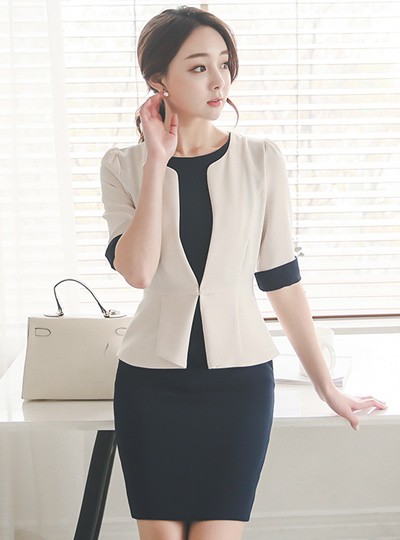 Lady Jacket layered Dress (7 sleeve)