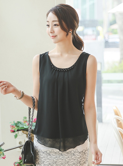 Caviar Shirring Chiffon Blouse Top