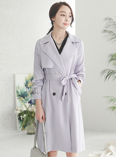Metal Strap Silky Trench Coat