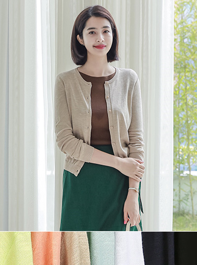 Cotton Slab Round Cardigan (spring)