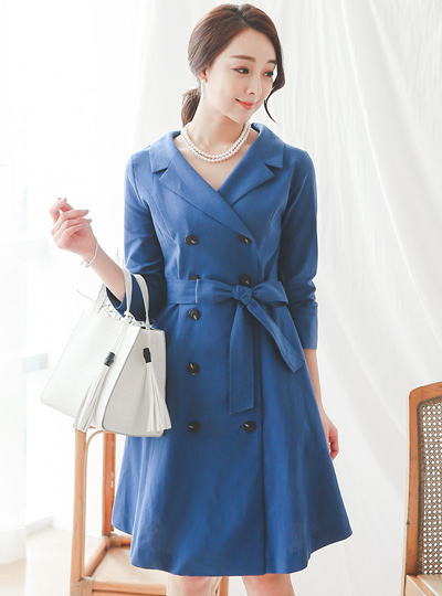 double Trench Linen Dress