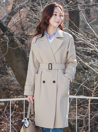 Stripe Lining Box Pocket Trench Coat
