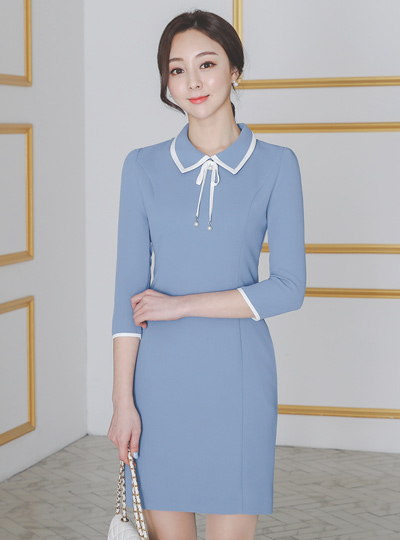 Pearl-Ribbon Brooch Collar Color matching Dress
