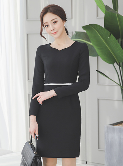 Heart Neck Color Combination Slim Dress(spring)Ⅱ