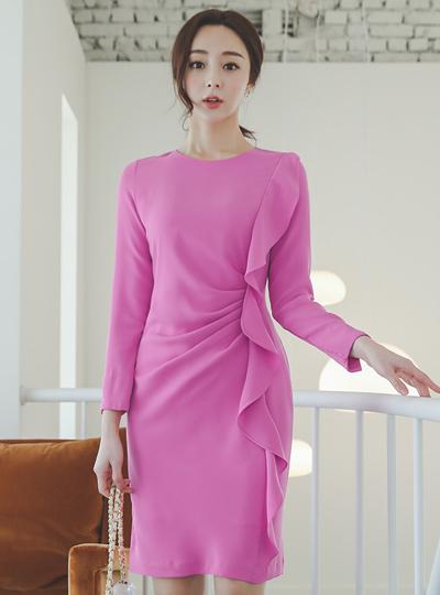 Pinch-Shirring Side Frill Round Dress
