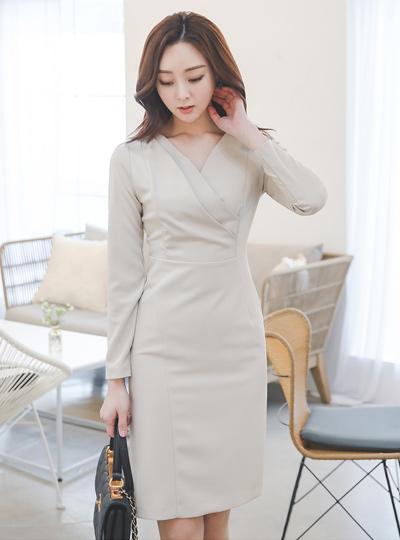 Double Surplice Cutting-line Span Dress
