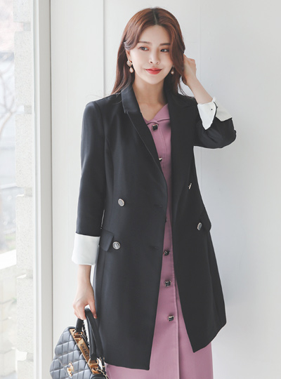 Gold-Ring Double-button Slim Half Jacket