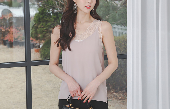 Pure See-through Lace Slip Blouse