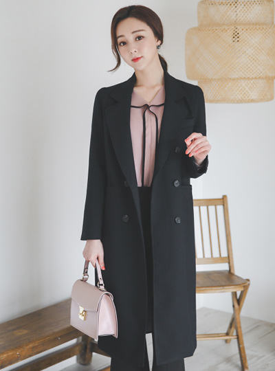 Vivid Basic Slim Fit Double Long Jacket