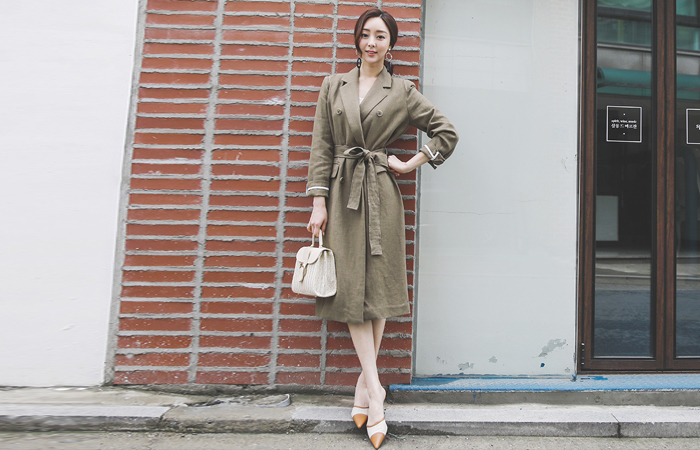 Linen Double Button Belted Long Jacket