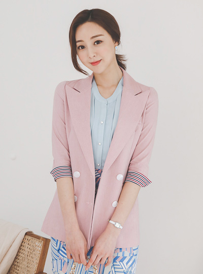 Stripe Color Combination Slim Double Linen Jacket