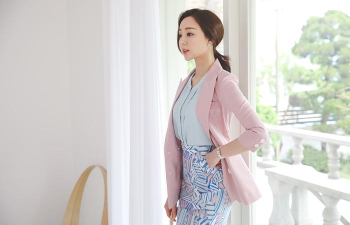 Stripe Color Combination Slim Double Linen Jacket