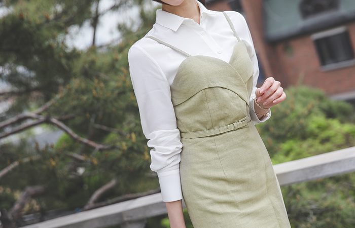 Tulip Bustier Belt Linen Dress