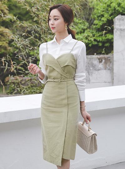 Tulip Bustier Belt Linen Dress