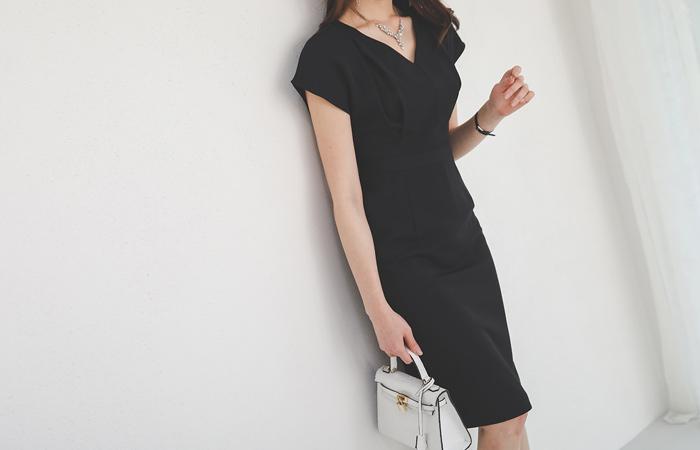 French Sleeves Pintuck Slim Span Dress