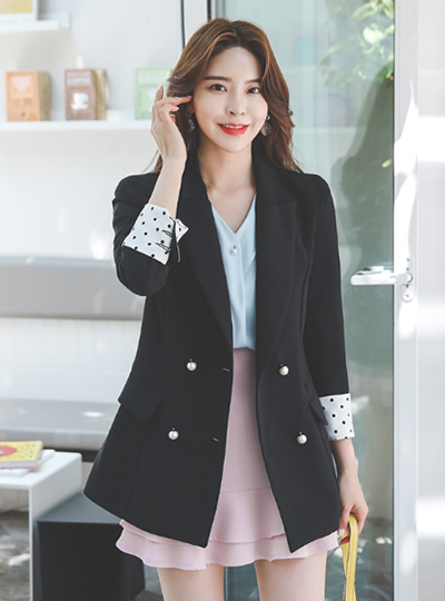 Double Pearl Dot Colored-Sleeves Jacket