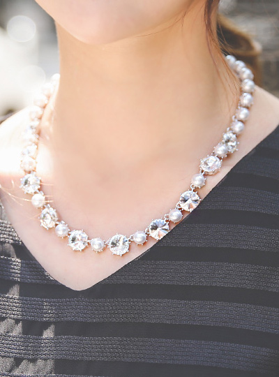 Pearl&Cubic Elegance Necklace