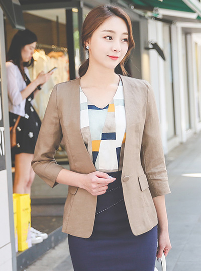Basic No collar Linen Jacket