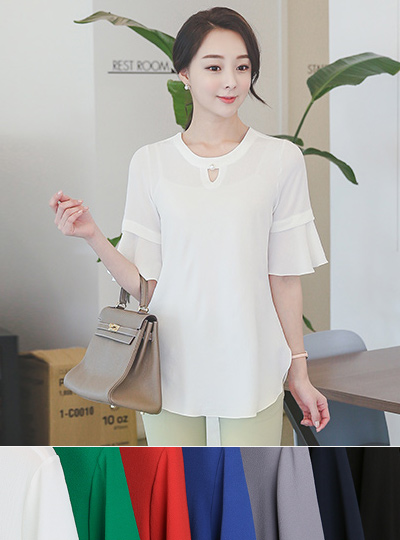 Ruffle sleeve pearl neckline Long blouse