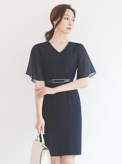 Chiffon Wing Sleeves Silver-Bar V-neck Dress