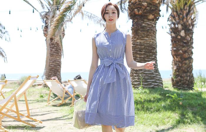 Romantic Stripe Chinese Shirt Dress