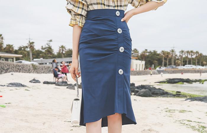 Gather Shirring Shell Button Span Skirt