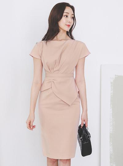 Pinch-Shirring Peplum French Sleeves Span Dress