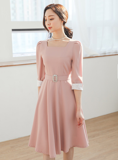 Cubic Belted Square Neck Flared Dress